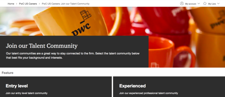 PwC talent pool page